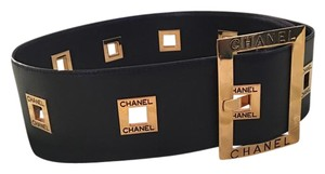 Chanel Chanel Black and Gold leather belt