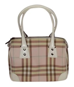 Burberry London Tote in Pink, blue and tan and white plaid.