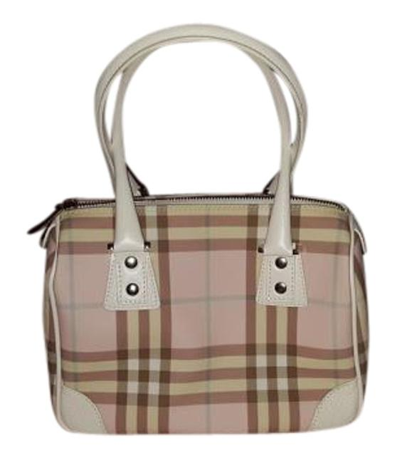 Item - S 04 1 Made In Italy Pink Blue and Tan and White Plaid. Leather Canvas Tote