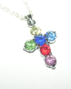 Silver Bogo Free Topaz Gemstone Cross Free Shipping Necklace