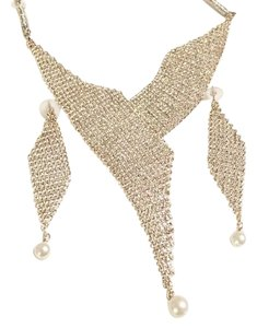 Avedah New Rhinestone & Pearl Necklace/Earing Set