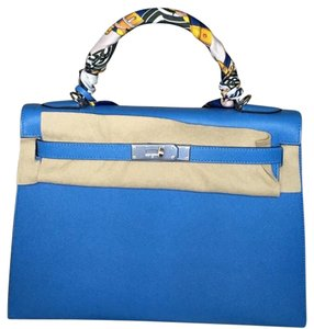 Hermès Leather Hermes Kelly Sellier Tote in Blue Paradise