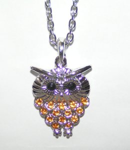 Silver Rhinestone Owl Sweater Necklace Free Shipping