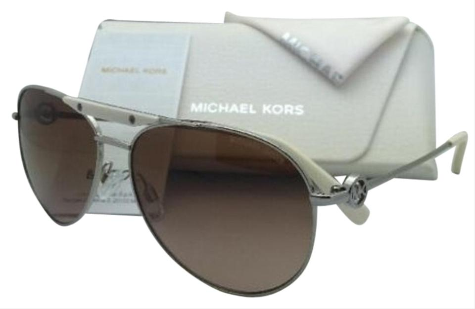 a1fcdb6178 Michael Kors New MICHAEL KORS Sunglasses ZANZIBAR MK5001 100113 Silver  Aviator Frame w  Brown Gradient ...