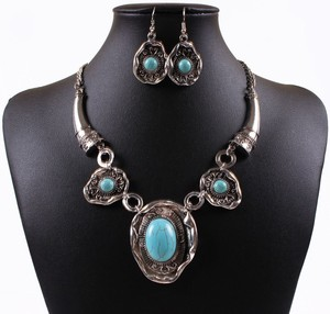 Antique Turquoise Necklace Set Free Shipping