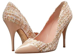 Kate Spade Tweed Leather Glitter Honey Beige Pumps