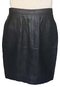 Dana Buchman Leather Skirt Black