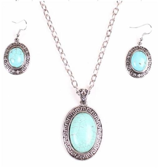 Turquoise Necklace Earring Set Free Shipping