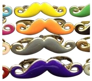 Other New! Purple & Gold Double Finger Handle Bar Mustache Ring - One Size Fits Most - Adjustable