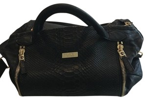 Halston Snakeskin Leather Satchel in Black and Gold