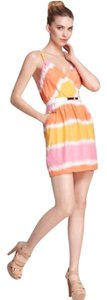 Akiko short dress Pink, orange, yellow on Tradesy
