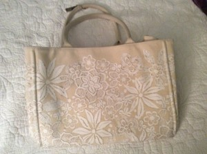 Oscar de la Renta Canvas Limited Edition. Tote in Cream