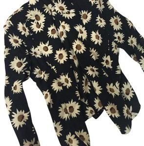 Sonia Rykiel Top Black with off white & brown flowers.