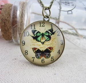Vintage Butterfly Watch Design Sweater Necklace Free Shipping