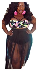 New Black Sexy Plus Size 2 PC Floral Top Skirt Bottom Bathing Suit Tag Sz XXXXL (Fits US 18-20)