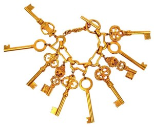 Chanel SKELETON KEY BRACELET - VINTAGE GOLD CHARM CC 93P CUFF BANGLE 1993