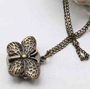 Bronze Butterfly Quartz Sweater Necklace Watch Free Shipping