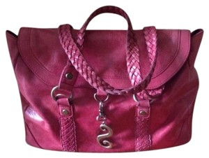 Nan Leather Fuchsia Satchel Shoulder Bag