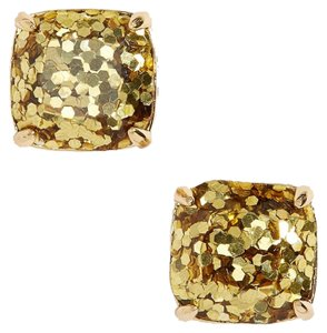 06bd672dd Kate Spade NEW Sparkly Gold Glitter Small Square Stud Earrings, Gift Box,  WBRU9354A