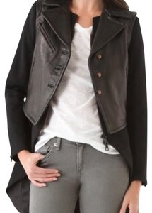 Rag & Bone tail coat in black with leather vest. Motorcycle Jacket