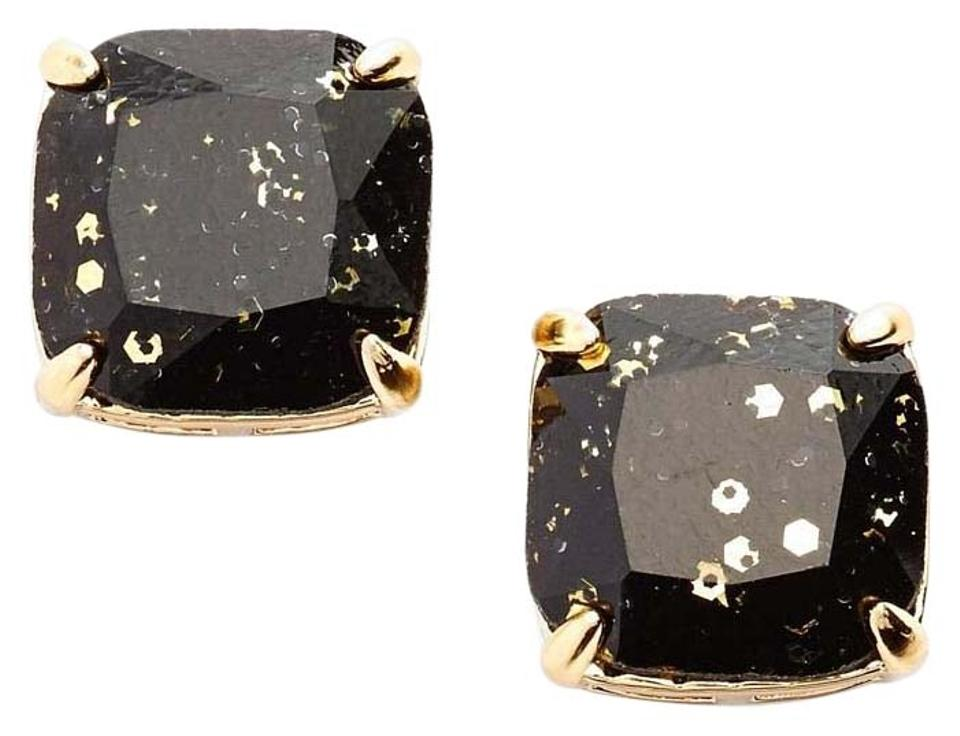 a5ef2930a Kate Spade NEW Sparkly Black Gold Glitter Small Square Stud Earrings, Gift  Box, WBRUB383A ...