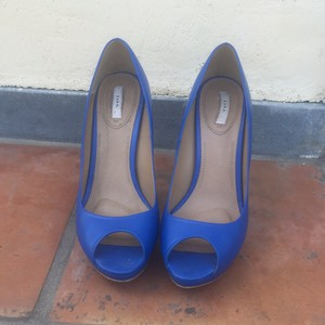 Zara Pump Peep Toe Heels Royal Blue Pumps