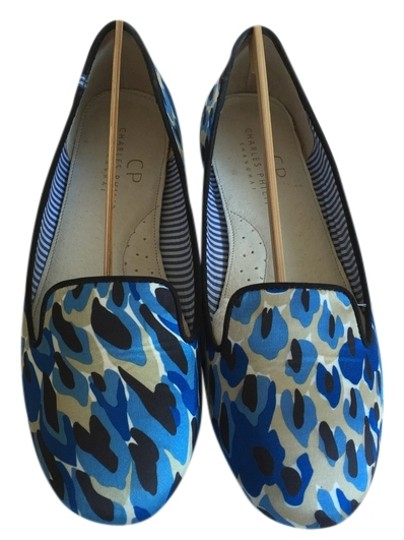 Charles Philip Shanghai Royal blue, black, white and taupe. Flats