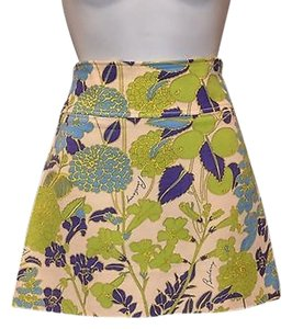 Burberry London Signature Floral Wool Lined Mini Skirt Multi-Color