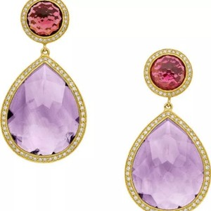 Ippolita 18k Ippolita Amethyst, Garnet, Diamond, Gold Earrings!!! Stunning 7k