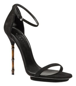 Gucci Bamboo Suede Bamboo Heels Sale Clearance black Sandals