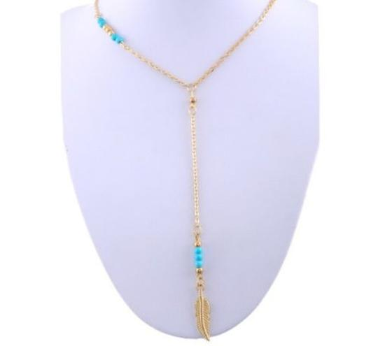 Lariat Y necklace Gold and turquoise Indian feather leaf charm lariat Y necklace, 2016 jewelry necklace trend