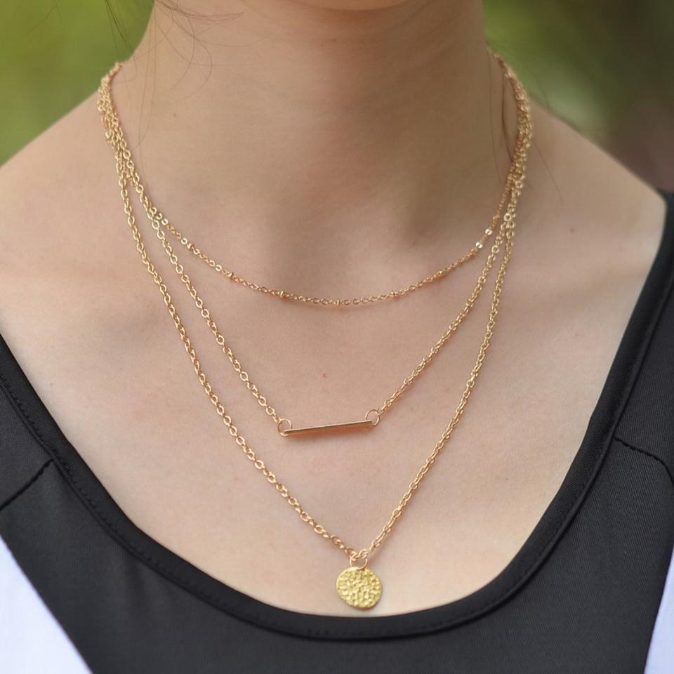Simple Gold Layered Necklace Set Horizontal Bar Necklace ...