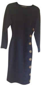 Andrea Jovine Vintage 100% Wool Ruching Dress