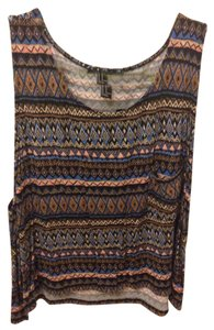 Forever 21 Top black/peach/navy tribal pattern