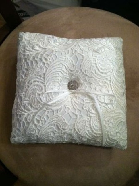 """Item - White 8"""" Square Lace with Crystals Ring Bearer Pillow"""