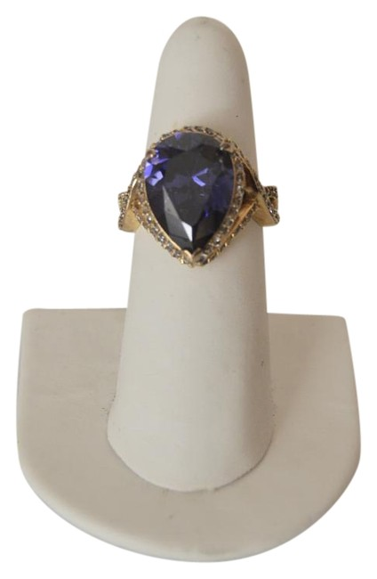 Item - .925 Sterling Silver Large Simulated Tanzanite Pear Shape Size 9 Ring