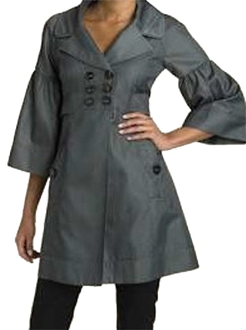 Nanette Lepore Three Quarter Length Sleeve Fitted Coat Double Breasted Closure Big Bow At Back Big Bow Pewter Grey Charcoal Grey Jacket