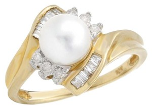 6.5mm Freshwater Pearl and Diamond Solitaire Yellow Gold 10K Ring