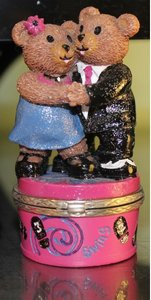 Claire's Jewelry Swing Dance Bears Figurine Trinket Boxes Wedding Decoration- Year 1999