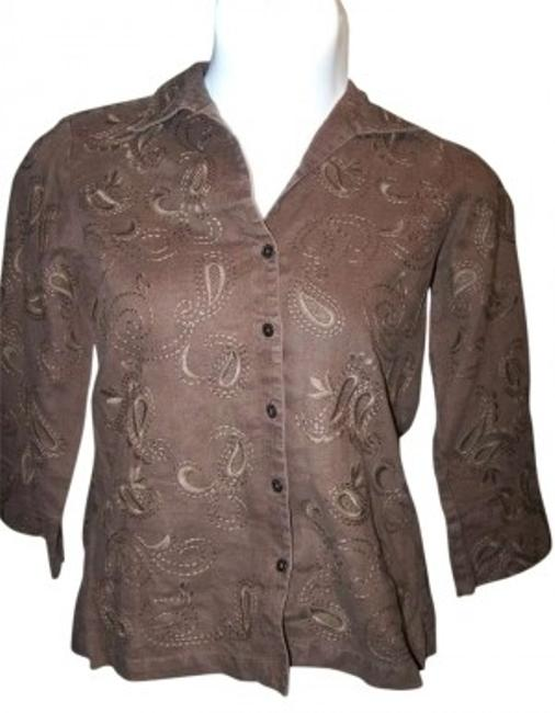 Preload https://item2.tradesy.com/images/jones-new-york-brown-paisley-medium-button-down-top-size-10-m-159116-0-0.jpg?width=400&height=650