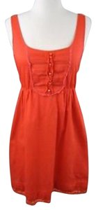 Anthropologie short dress Coral Red Cotton Lace Trim on Tradesy