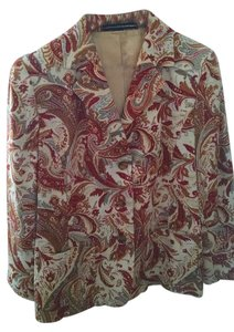 Ellen Tracy Vintage earth colors printed Blazer