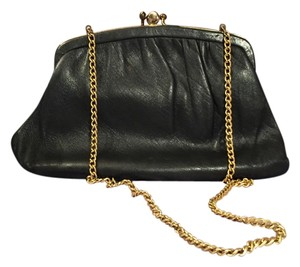 Gold-toned Chain Link Black Clutch