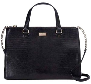 Kate Spade Leather Rare Satchel in Black/Gold