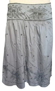 Anthropologie Beaded Skirt Silver