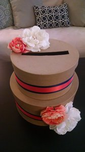 Self Esteem Coral & Navy Ribbon with Burlap Colored Boxes Card Box - Other