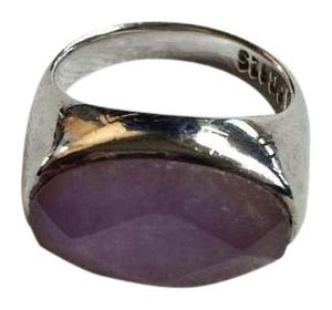 Ann Taylor LOFT 925 Sterling Silver Purple Faceted Stone Cocktail Ring 4.5