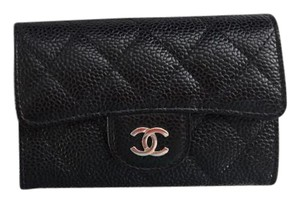 Chanel Chanel - Coin Purse or Card Holder - Black Caviar Leather with Silver Hardware - Brand New