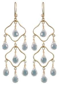 Other Elegant 14 Karat Gold Plated Clear Quartz Earrings