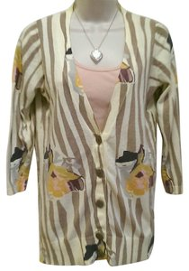Anthropologie Sweater Floral Zebra Cardigan